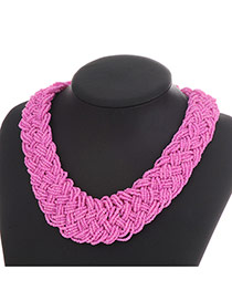 Fashion Plum Red Measle Decorated Hand-woven Chain Design