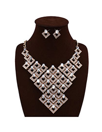 Exquisite Gold Color Square Shape Weaving Decorated Collar Design Alloy Jewelry Sets
