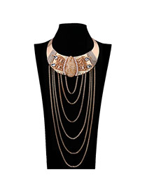 Vintage Yellow Multilayer Metal Chain Pendant Decorated Collar Design Alloy Chokers