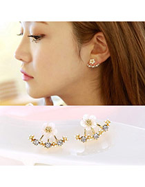Elegant Gold Color Diamond&flower Decorated Simple Design