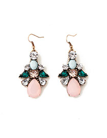 Cute Pink Waterdrop Shape Diaomnd Decorated Simple Design Alloy Korean Earrings