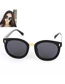Fashion Black Round Shape Decorated Simple Design Alloy Women Sunglasses