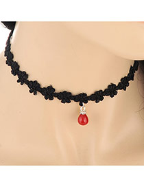 Vintage Red Pearl Pendant Decorated Collar Design