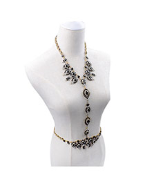 Exaggerated Black Waterdrop Gemstone Decorated Simple Design Alloy Body Chains