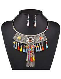 Exaggerated Multi-color Chain Weaving&tassel Pendant Decorated Collar Design Alloy Jewelry Sets