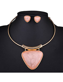 Exaggerated Pink Triangle Gemstone Pendant Decorated Neck Strap Design