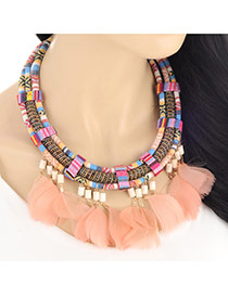 Bohemia Multi-color Feather Pendant Decorated Multilayer Design