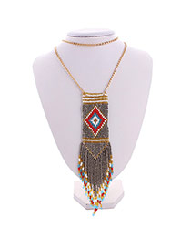 Bohemia Coffee Feather Pendant Decorated Multilayer Design