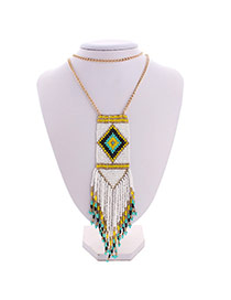 Bohemia White Feather Pendant Decorated Multilayer Design