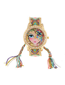 Vintage Light Yellow Half Covered Face Girl Decorated Hand-woven Strap Design