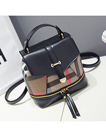 Lovely Black Grid Pattern Decorated Metal Buckle Design Pu Handbags