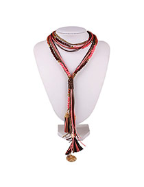 Exaggerate Red Round Shape &tassel Pendant Decorated Multi-layer Design