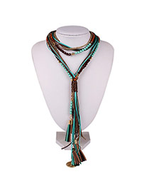 Exaggerate Green Round Shape &tassel Pendant Decorated Multi-layer Design Chain Bib Necklaces