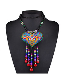 Vintage Multi-color Heart Shape Pouch Decorated Tassel Desgin Bead Bib Necklaces