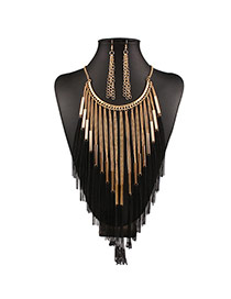 Exaggerated Black Multilayer Chains Tassel Pendant Decorated Collar Design