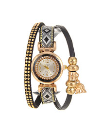 Personalized Black Elephant Pendant Decorated Multi-layer Design Fabric Ladies Watches
