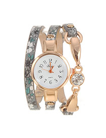 Vintage Gray Painted Flower Pattern Decorated Multi-layer Design Pu Ladies Watches