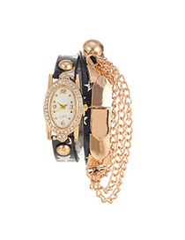 Trendy Black Stars Pattern Decorated Multi-layer Chain Design Pu Ladies Watches