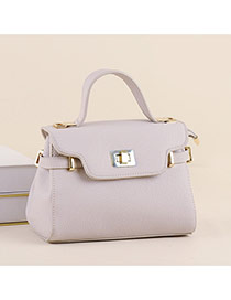 Trendy Light Gray Metal Buckle Decorated Candy Color Design Pu Handbags
