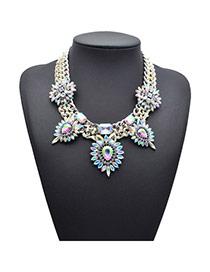 Exaggerate Silver Color Diamond Decorated Wide Chain Design
