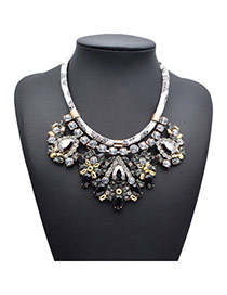 Exquisite Black Gemstone Decorated Simple Design Alloy Fashion Necklaces
