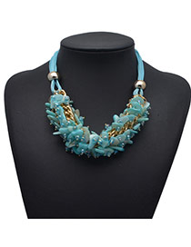 Exquisite Blue Shell Decorated Weave Design Alloy Bib Necklaces