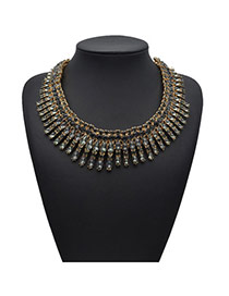 Exquisite Gray Gemstone Decorated Collar Shape Design Alloy Fashion Necklaces