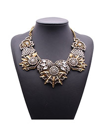 Exaggerate Bronze Diamond Decorated Hollow Out Flower Shape Design Alloy Fashion Necklaces