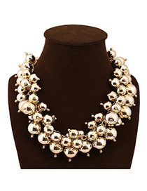Exaggerate Gold Color Beads Decorated Weave Design Alloy Bib Necklaces