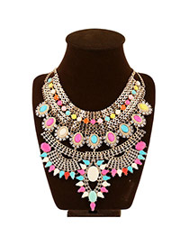 Elegant Multi-color Gemstone Decorated Multilayer Design Alloy Bib Necklaces