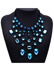Elegant Light Blue Water Drop Diamond Decorated Multilayer Design