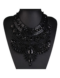 Fashion Black Gemstone Decorated Multilayer Design