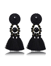 Retro Black Beads Decorated Tassel Design