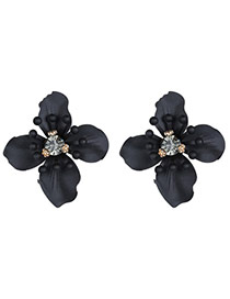 Personality Black Beads Decorated Flower Shape Design Alloy Stud Earrings