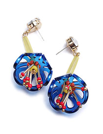 Personality Blue Flower Pendant Decorated Hollow Out Design Acrylic Stud Earrings