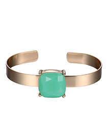 Exaggerated Green Square Diamond Decorated Opening Design Alloy Fashion Bangles