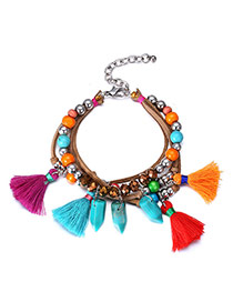 Vintage Multi-colour Pearls&tassel Decorated Simple Design Turquoise Korean Fashion Bracelet