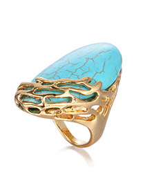 Elegant Blue Hollow Out Decorated Simple Design  Alloy Korean Rings
