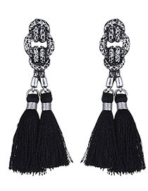 Vintage Silver Colour+black Tassel Pendant Decorated Simple Design  Alloy Stud Earrings