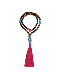 Retro Plum Red Beads Decorated Tassel Design Ceramics Ceramics Bib Necklaces