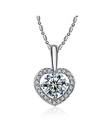 Personality Silver Color Diamond Decorated Heart Pendant Design Alloy Bib Necklaces