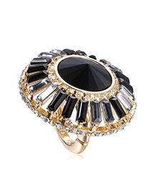 Personalized Black Diamond Decorated Flower Shape Design Alloy Korean Rings