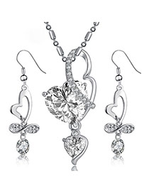 Fashion Silver Color Heart Diamond Pendant Decorated Simple Design Alloy Jewelry Sets