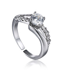 Fashion Silver Color Square Shape Diamond Decorated Opening Design Alloy Korean Rings