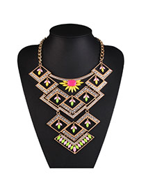 Fashion Green Geometric Pendant Decorated Hollow Out Design Alloy Bib Necklaces