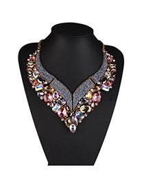 Personalized Multi-color Geometric Diamond Decorated Simple Design Alloy Bib Necklaces