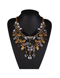 Exaggerate Black Water Drop Diamond Decorated Double Layer Design Alloy Bib Necklaces