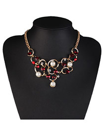 Elegant Red Pearl&diamond Decorated Hollow Out Design Alloy Bib Necklaces