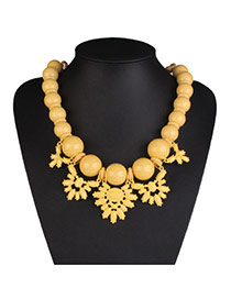 Exaggerate Yellow Big Bead Decorated Short Chain Design Acrylic Bib Necklaces