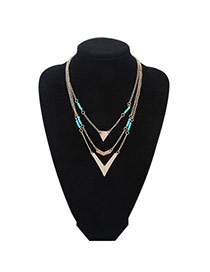 Parsimonious Blue Beads Decorated Triangle Shape Multilayer Design Alloy Chains